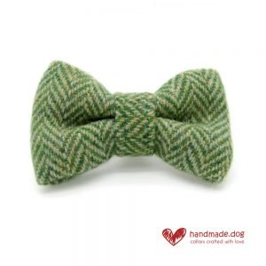 Handmade Green Herringbone 'Harris Tweed' Dog Dickie Bow