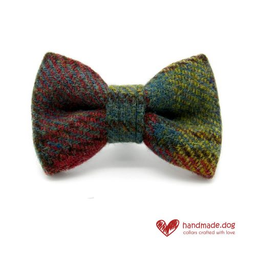 Handmade Dark Green and Yellow Check 'Harris Tweed' Dog Dickie Bow