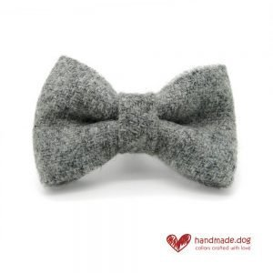 Handmade Soft Grey 'Harris Tweed' Dog Dickie Bow
