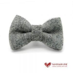 Handmade Soft Grey 'Harris Tweed' Dog Dickie Bow
