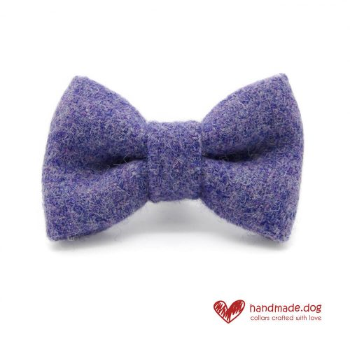Handmade Lilac 'Harris Tweed' Dog Dickie Bow