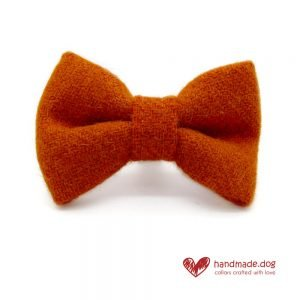 Handmade Orange 'Harris Tweed' Dog Dickie Bow