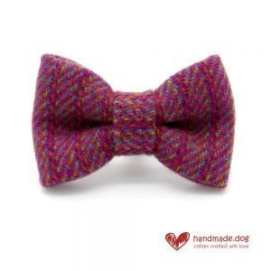 Handmade Pink Multicolour 'Harris Tweed' Dog Dickie Bow