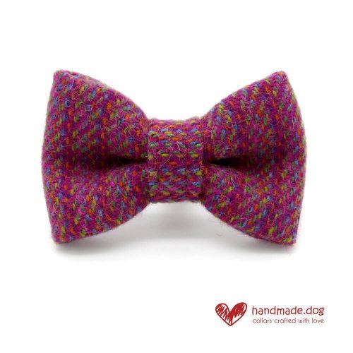 Handmade Pink Multicolour 'Harris Tweed' Dog Dickie Bow