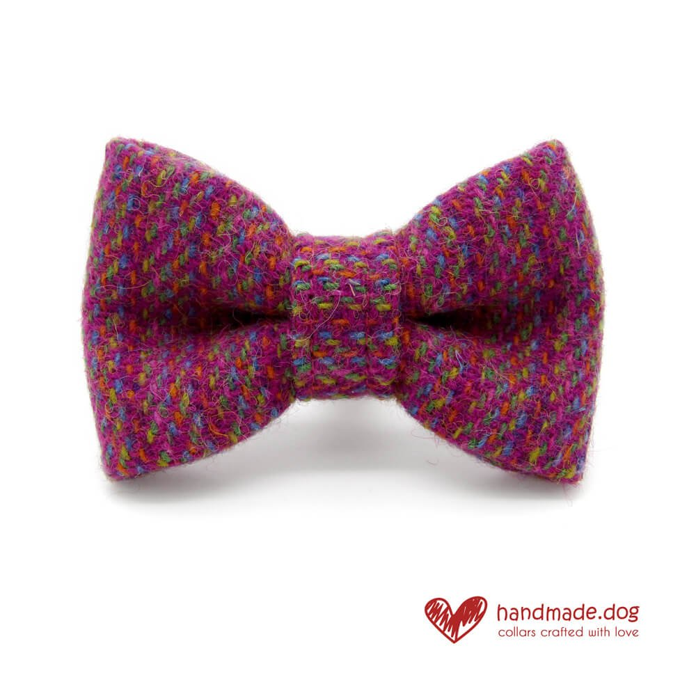 9852488eec4d Handmade Pink Multicolour 'Harris Tweed' Dog Dickie Bow | handmade.dog