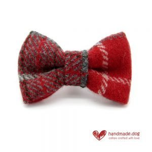 Handmade Red Check 'Harris Tweed' Dog Dickie Bow