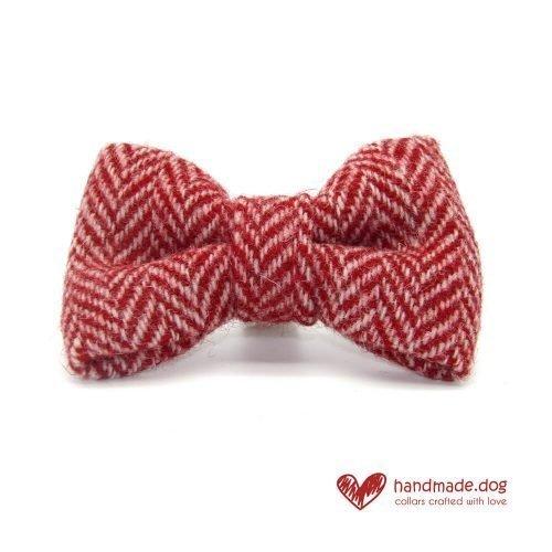 Red and White Herringbone 'Harris Tweed' Dog Dickie Bow