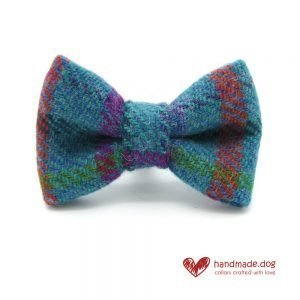 Handmade Turquoise Check 'Harris Tweed' Dog Dickie Bow