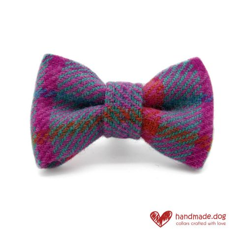 Handmade Purple and Turquoise Check 'Harris Tweed' Dog Dickie Bow