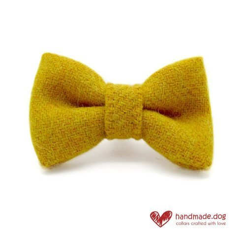 Handmade Yellow 'Harris Tweed' Dog Dickie Bow