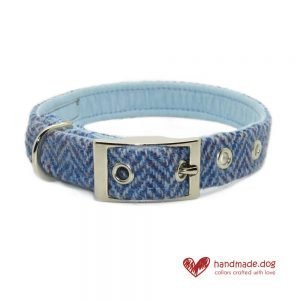 Handmade Blue Herringbone 'Harris Tweed' Dog Collar