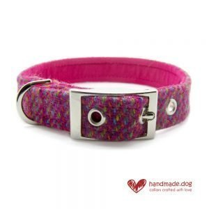 Handmade Pink Multicolour 'Harris Tweed' Dog Collar