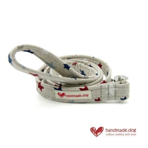 Handmade Red White Blue and Grey Stars Fabric Dog Lead