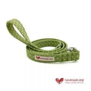 Handmade Green and White Spotty Fabric Dog Lead