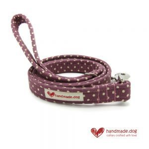 Handmade Mauve and White Spotty Fabric Dog Lead
