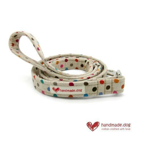 Handmade Multicoloured Spotty Fabric Dog Lead