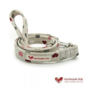 Handmade Pink Red White and Grey Hearts Fabric Dog Lead