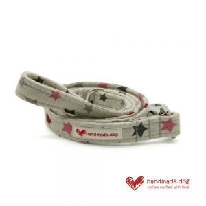 Handmade Pink Red White and Grey Stars Fabric Dog Lead