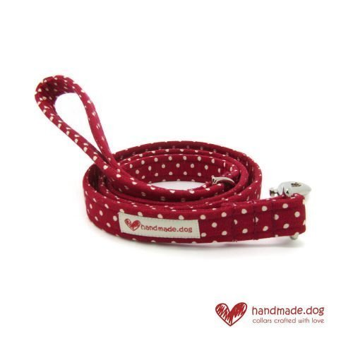 Handmade Red and White Spotty Fabric Dog Lead