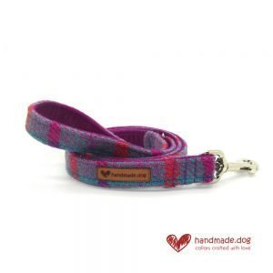 Handmade Purple and Turquoise Check 'Harris Tweed' Dog Lead