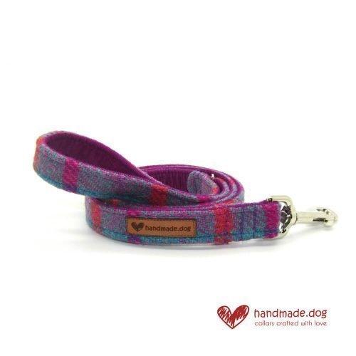 Handmade Purple and Turquoise Check 'Harris Tweed' Dog Lead