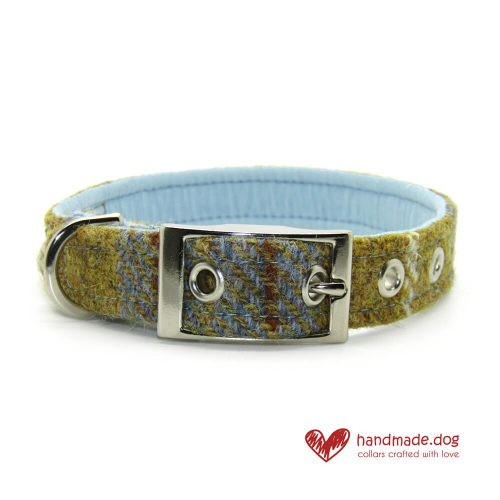 Handmade Mustard and Blue Check 'Harris Tweed' Dog Collar