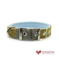Handmade Mustard and Blue Check 'Harris Tweed' Dog Collar