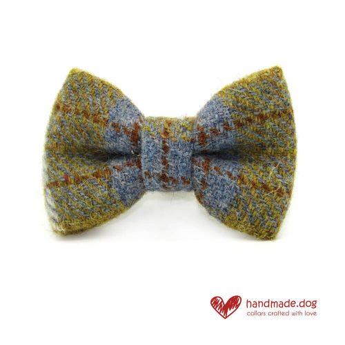 Handmade Mustard and Blue Check 'Harris Tweed' Dog Dickie Bow