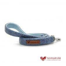 Handmade Blue Herringbone 'Harris Tweed' Dog Lead