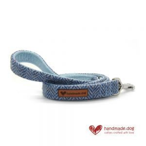 Handmade Blue Herringbone 'Harris Tweed' Dog Lead