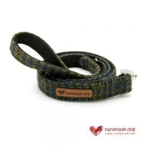 Handmade Brown Houndstooth 'Harris Tweed' Dog Lead