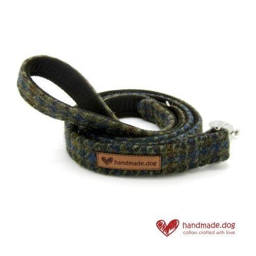 Handmade Brown Houndstooth 'Harris Tweed' Dog Lead
