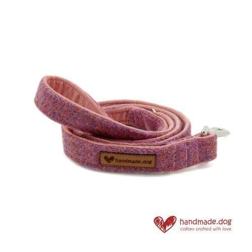 Handmade Dusky Pink 'Harris Tweed' Dog Lead
