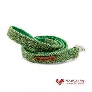 Handmade Green Herringbone 'Harris Tweed' Dog Lead