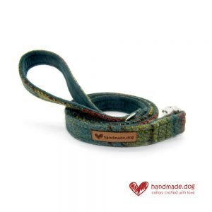 Handmade Dark Green and Yellow Check 'Harris Tweed' Dog Lead