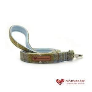 Handmade Mustard and Blue Check 'Harris Tweed' Dog Lead