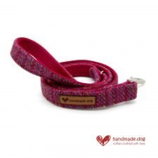 Handmade Pink Multicolour 'Harris Tweed' Dog Lead