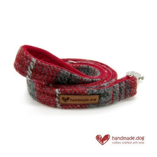 Handmade Red Check 'Harris Tweed' Dog Lead