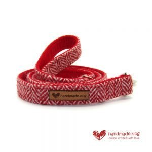 Red Herringbone 'Harris Tweed' Dog Lead