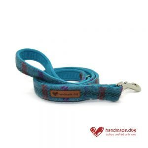 Handmade Turquoise Check 'Harris Tweed' Dog Lead