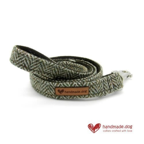 Handmade Brown Herringbone 'Harris Tweed' Dog Lead