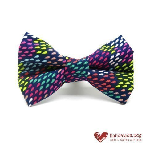 Handmade Multicoloured Rainbow Drops Fabric Dog Dickie Bow