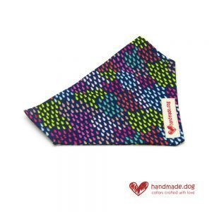 Handmade Multicoloured Rainbow Drops Fabric Dog Bandana