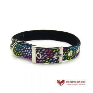 Handmade Multicoloured Rainbow Drops Fabric Dog Collar