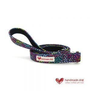 Handmade Multicoloured Rainbow Drops Fabric Dog Lead