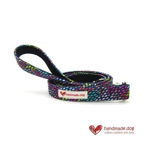 Handmade Multicoloured Rainbow Drops Fabric Dog Lead