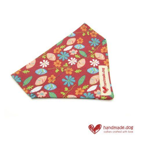 Handmade Coral Flowers Fabric Dog Bandana