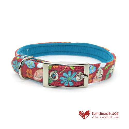 Handmade Coral Flowers Fabric Dog Collar