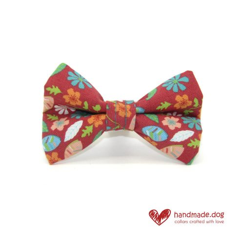 Handmade Coral Flowers Fabric Dog Dickie Bow