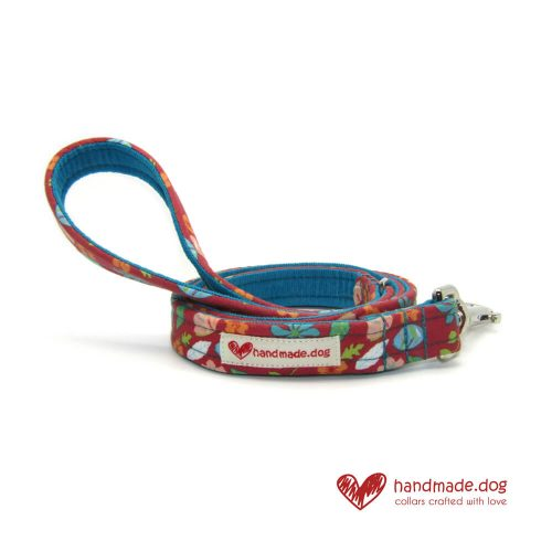 Handmade Coral Flowers Fabric Dog Lead